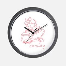 SUNDAY REDWORK Wall Clock