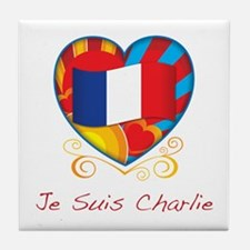 French Heart Je Suis Charlie Tile Coaster