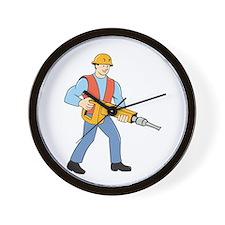 Construction Worker Holding Jackhammer Cartoon Wal