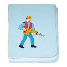Construction Worker Holding Jackhammer Cartoon bab