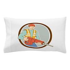 Construction Worker Jackhammer Circle Cartoon Pill