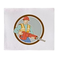 Construction Worker Jackhammer Circle Cartoon Thro