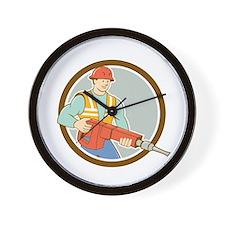 Construction Worker Jackhammer Circle Cartoon Wall