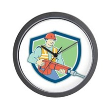 Construction Worker Jackhammer Shield Cartoon Wall