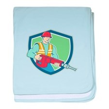 Construction Worker Jackhammer Shield Cartoon baby