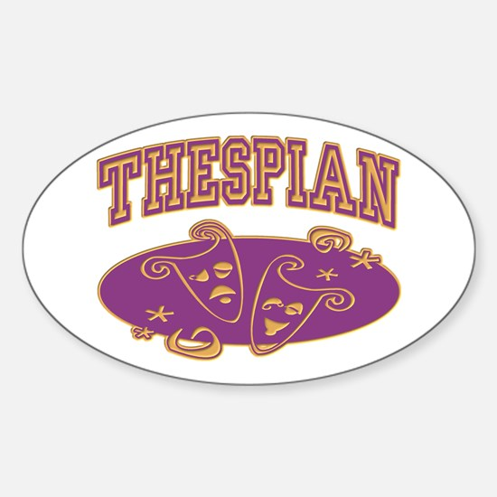 Thespian Drama Mask Sporty Oval Decal