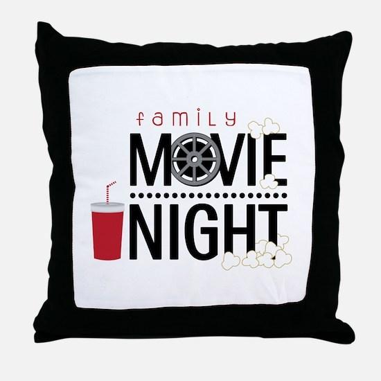 Family Movie Night Throw Pillow