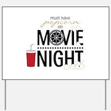 Movie Night Pop Yard Sign
