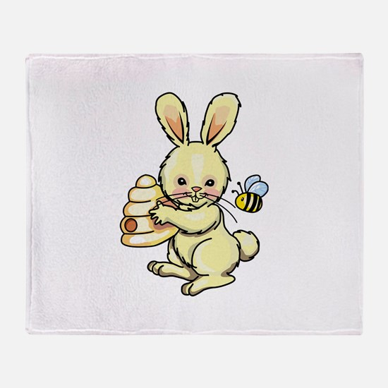 BUNNY WITH BEE AND HIVE Throw Blanket