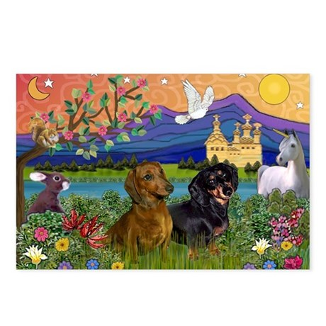 Dachshunds in Fantasyland Postcards (Pack of 8)