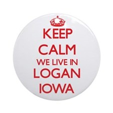 Keep calm we live in Logan Iowa Ornament (Round)
