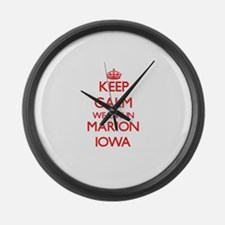 Keep calm we live in Marion Iowa Large Wall Clock