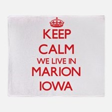 Keep calm we live in Marion Iowa Throw Blanket