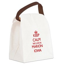 Keep calm we live in Marion Iowa Canvas Lunch Bag