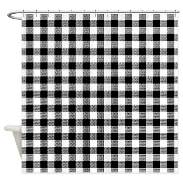Black And White Gingham Shower Curtain By Artandornament