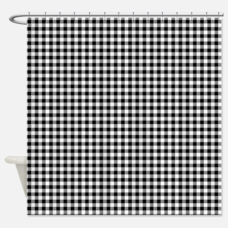 Gingham shower curtains gingham fabric shower curtain liner for Black and white shower curtain