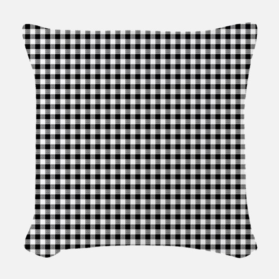 Black And White Gingham Woven Throw Pillow