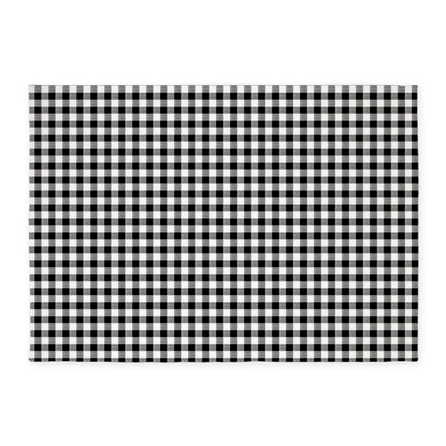 Gingham Rug: Black And White Gingham 5'x7'Area Rug By Artandornament