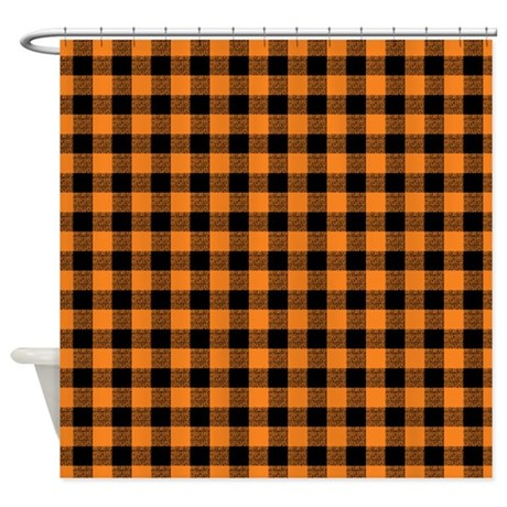 Orange And Black Gingham Shower Curtain By Artandornament