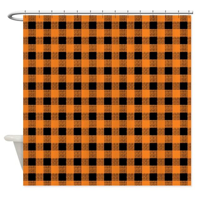 Orange And Black Gingham Shower Curtain By Artandornament