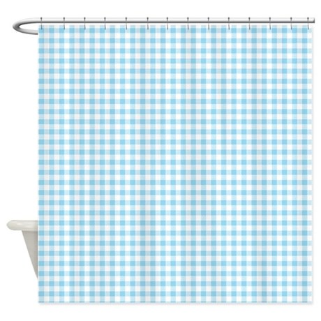 Blue Gingham Pattern Shower Curtain By Artandornament