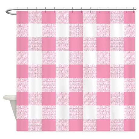 Pink Gingham Pattern Shower Curtain