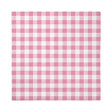 Pink Gingham Pattern Queen Duvet