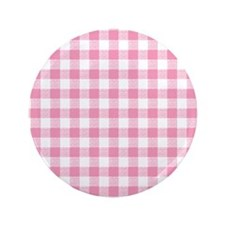 """Pink Gingham Pattern 3.5"""" Button"""