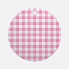 Pink Gingham Pattern Ornament (Round)