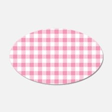 Pink Gingham Pattern Wall Decal