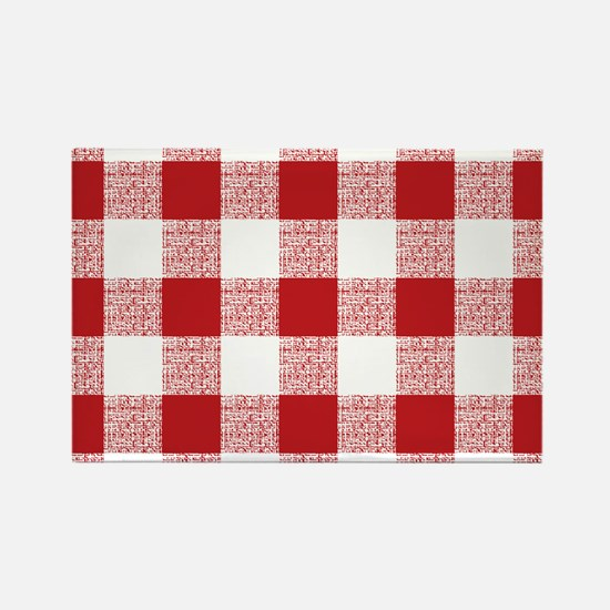 Red Gingham Pattern Rectangle Magnet