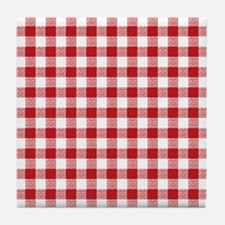 Red Gingham Pattern Tile Coaster