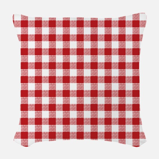 Red Gingham Pattern Woven Throw Pillow