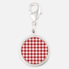 Red Gingham Pattern Silver Round Charm