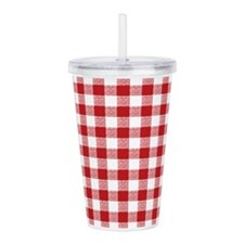 Red Gingham Pattern Acrylic Double-wall Tumbler