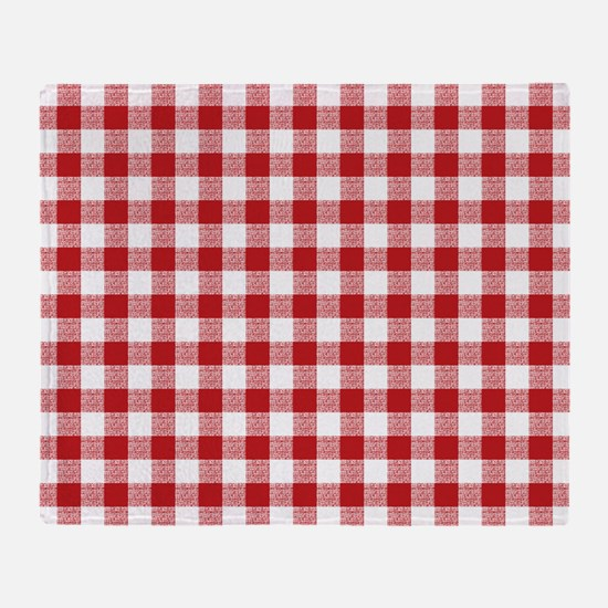 Red Gingham Pattern Throw Blanket