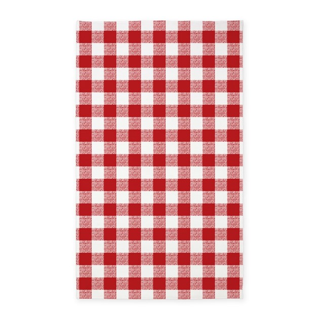 Red Gingham Pattern Area Rug By Artandornament