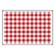 Red Gingham Pattern Banner