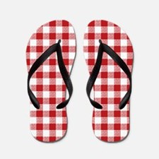 Red Gingham Pattern Flip Flops