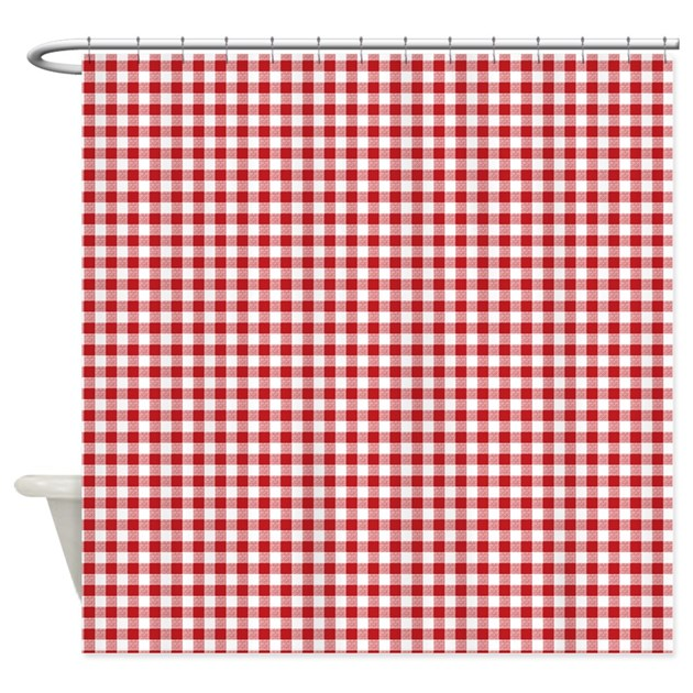 red gingham pattern shower curtain by artandornament