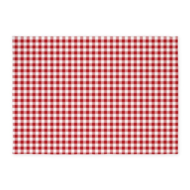 Gingham Rug: Red Gingham Pattern 5'x7'Area Rug By Artandornament