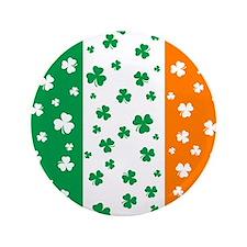 """Shamrock Irish Flag 3.5"""" Button"""