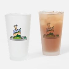 Cafeteria Worker Drinking Glass
