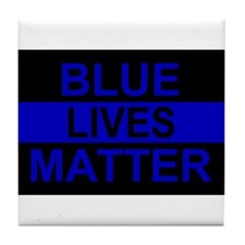 Blue Lives Matter Stripe Tile Coaster