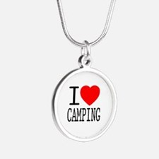 I Love | Heart Camping Silver Round Necklace