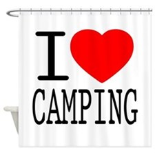I Love | Heart Camping Shower Curtain