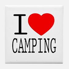 I Love   Heart Camping Tile Coaster