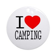 I Love | Heart Camping Ornament (Round)