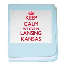 Keep calm we live in Lansing Kansas baby blanket