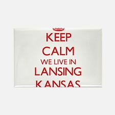 Keep calm we live in Lansing Kansas Magnets